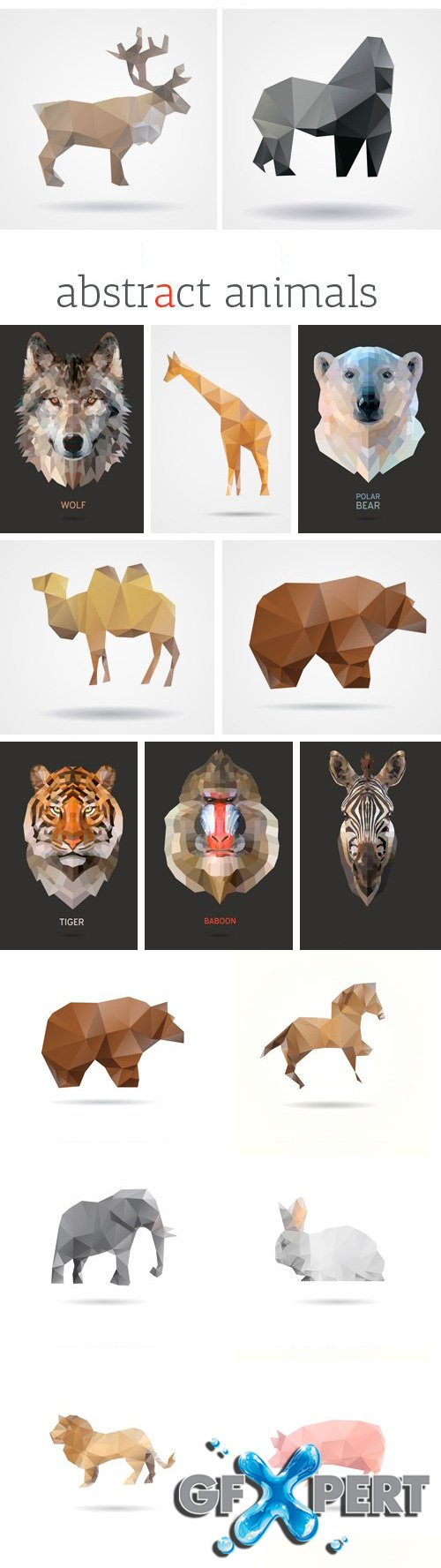 Stock Vectors - Abstract Animals, 25xEPS