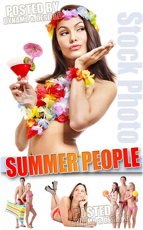 Summer people on white - UHQ Stock Photo