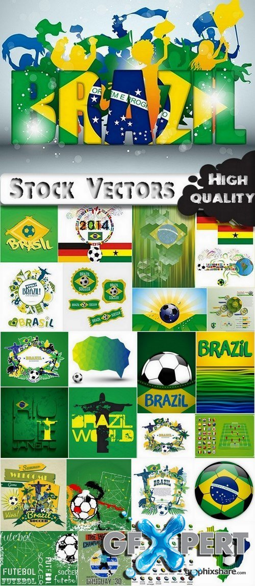 Brazil football world cup 2014 design elements in vector - 21 Eps - 2 Ai - 2 Svg