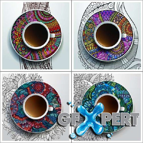 Ethnic pattern ornaments and coffee cups