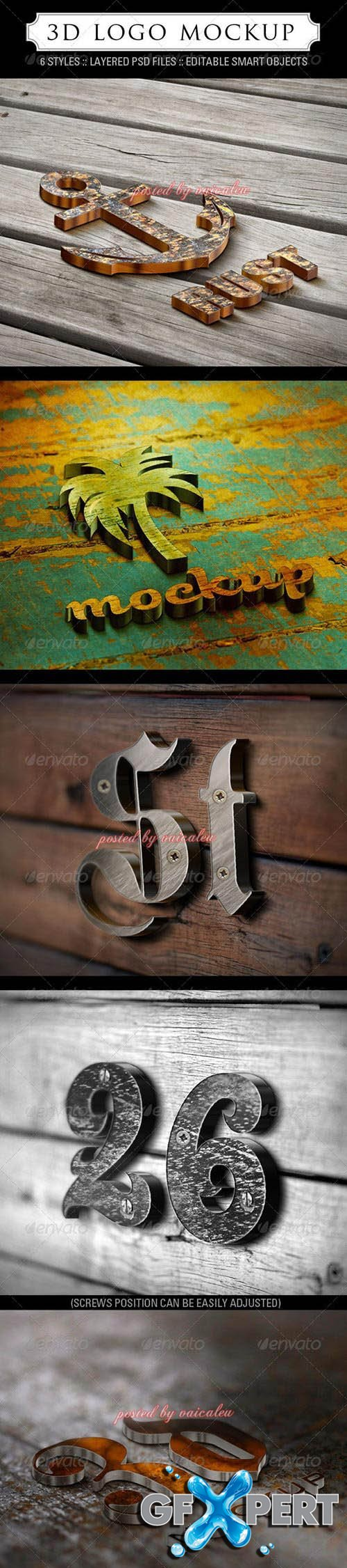 Graphicriver - 3D Logo Mockup - 6 Styles 1