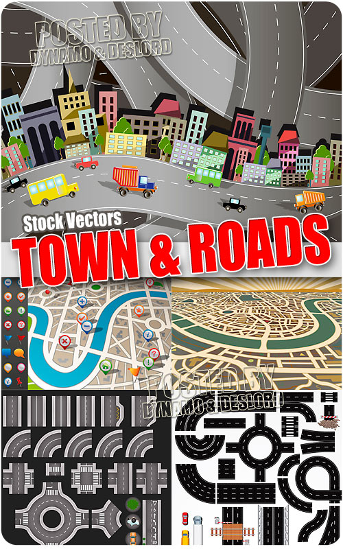 Town and roads - Stock Vectors