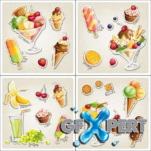 Fresh fruit and sundae vector