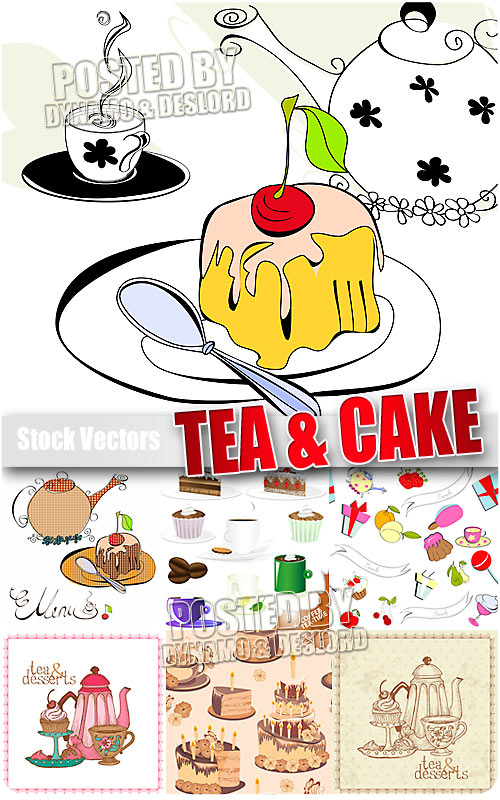 Tea & cake - Stock Vectors