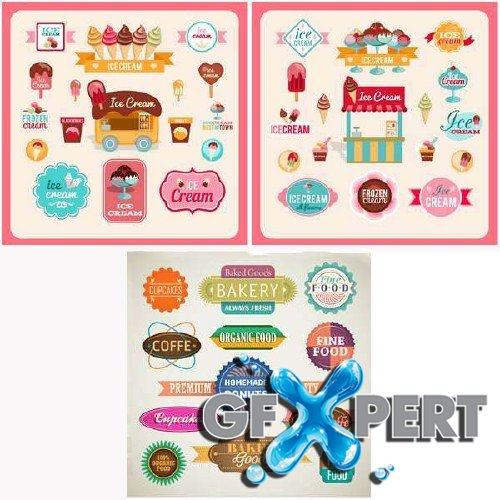 Vector Tags, Labels, Stickers for Sweets and Bakery