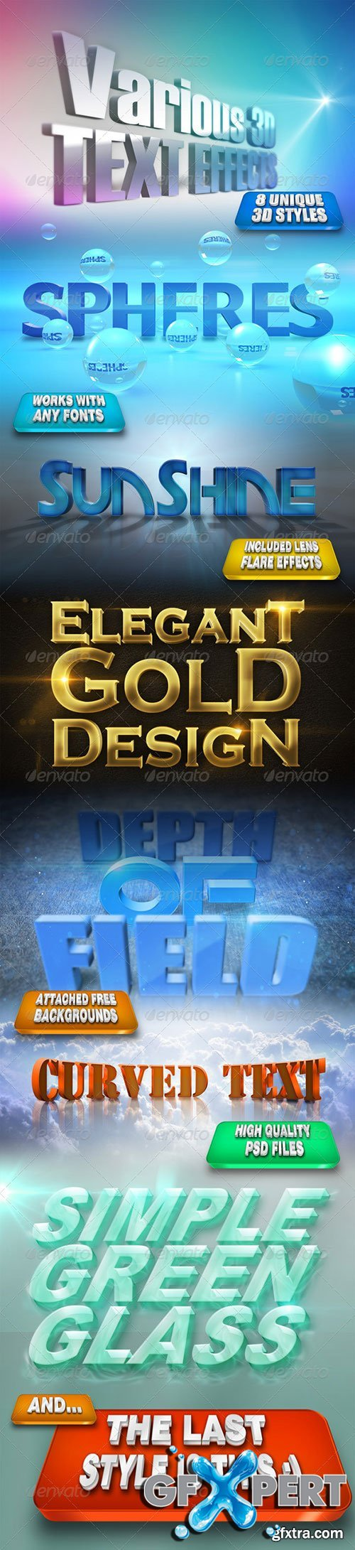 GraphicRiver - Various 3D Text Effects