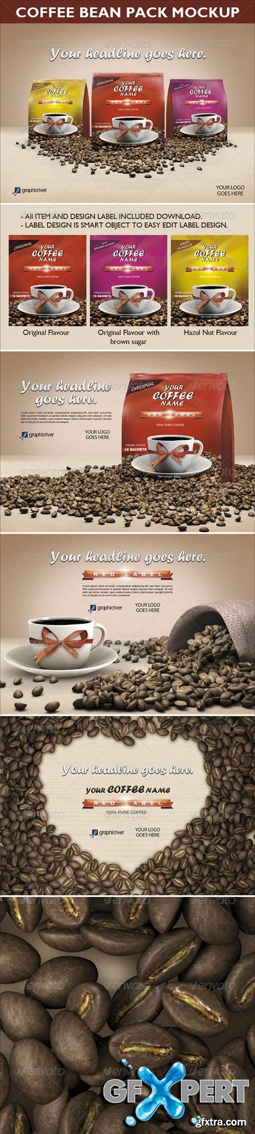 GraphicRiver - Coffee Bean Pack Mock-up