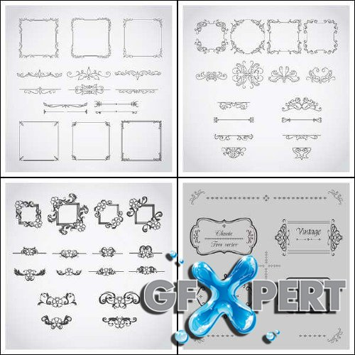 Calligraphic art elements and ornaments vector