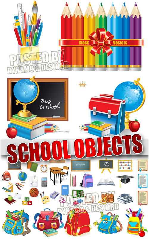 School objects - Stock Vectors
