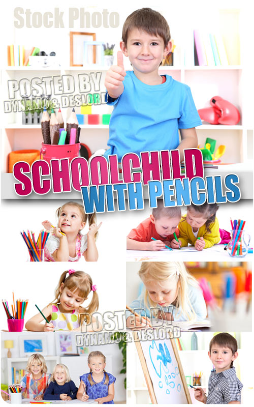 Schoolchild with pencils - UHQ Stock Photo