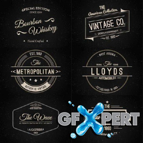 Vintage badges, labels, stamps vector clipart
