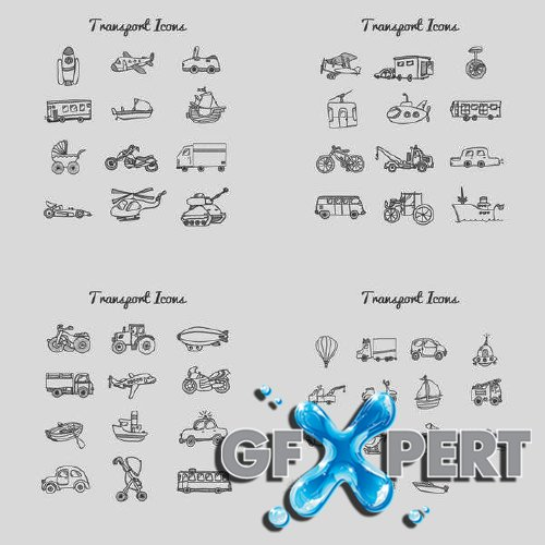 Transport icons drawing collection
