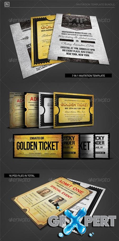 Golden Silver Invitation Template Bundle