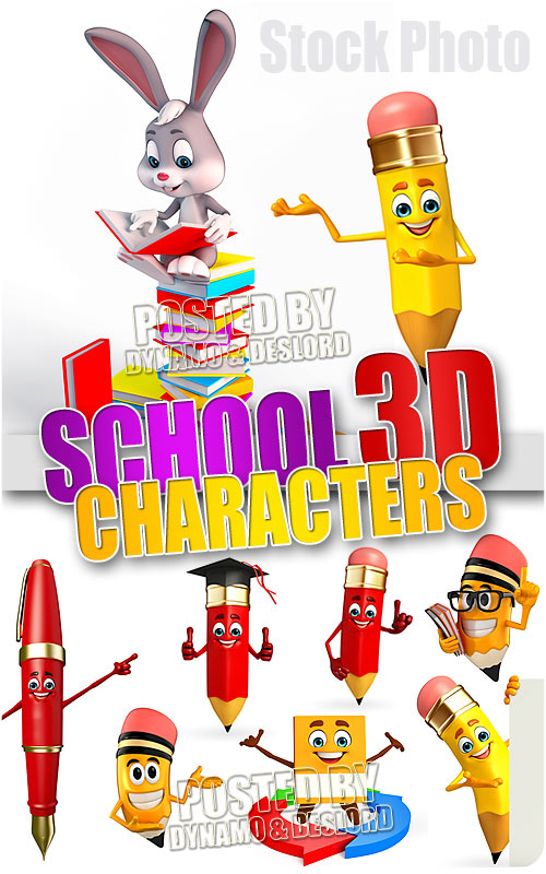 School 3D characters - UHQ Stock Photo
