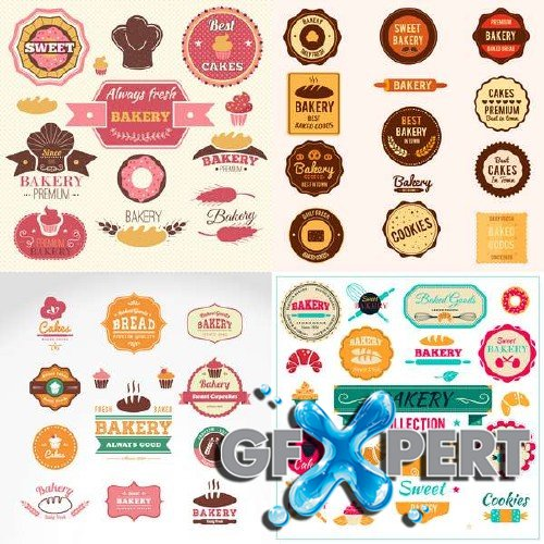 Retro bakery collection stamps and badges