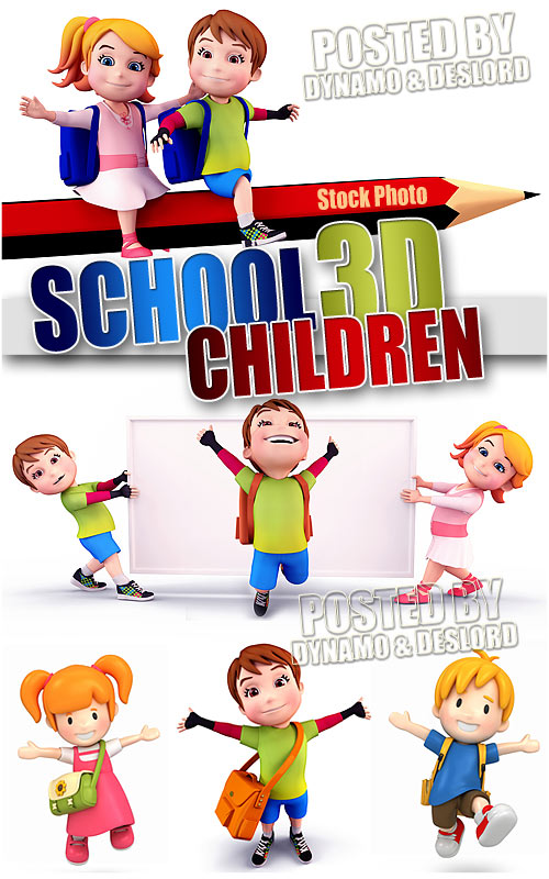 School children 3D - UHQ Stock Photo