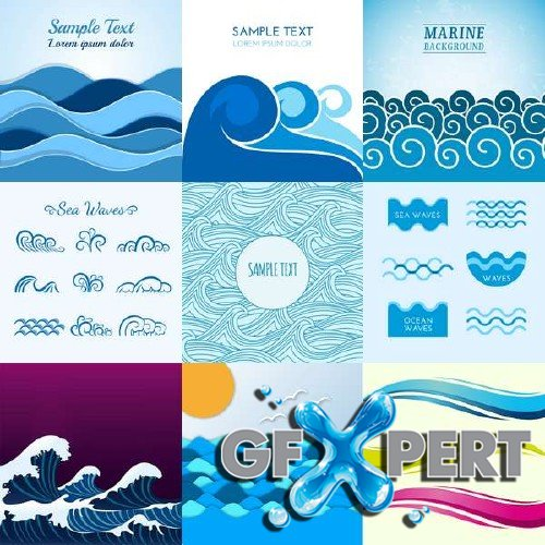 Blue waves of vector graphics set
