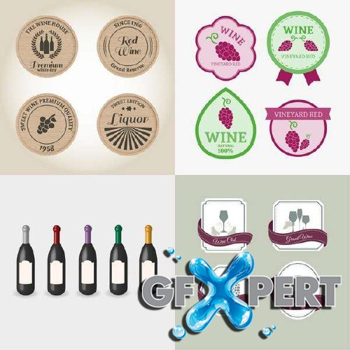 Wine labels and bottles vector clipart