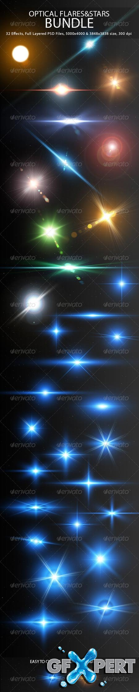 GraphicRiver Optical Flares&Stars Bundle 7602672