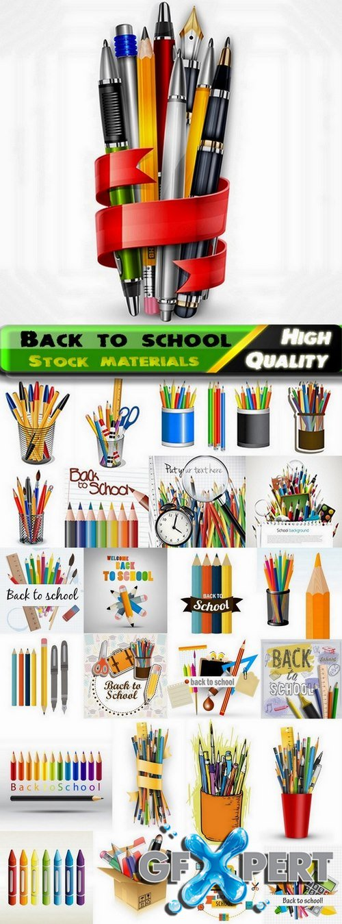 Back to school backgrounds and stationery elements in vector from stock - 25 Eps