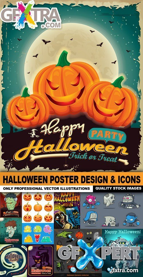 Halloween Poster Design & Icons - 50 Vector
