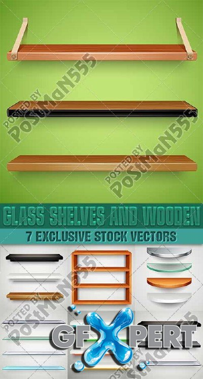 Glass shelves & wooden - VectorStock