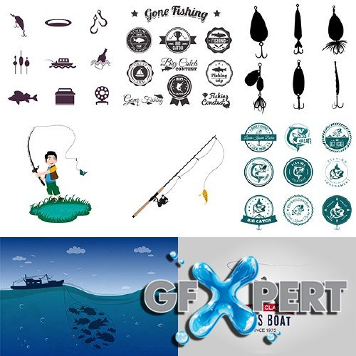 Fishing icons and hooks vector pack