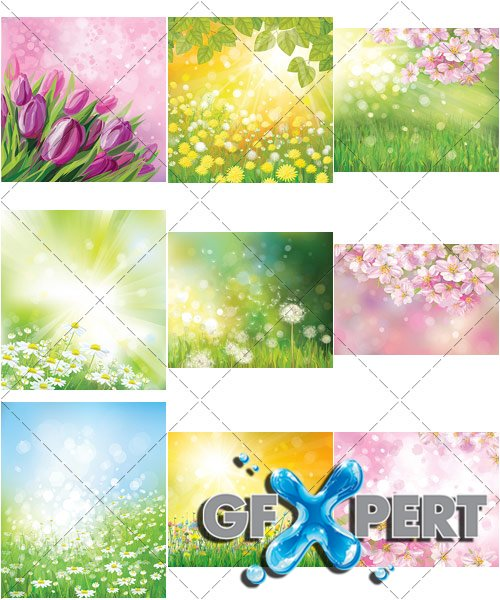 Spring and summer lovely landscapes - VectorStock