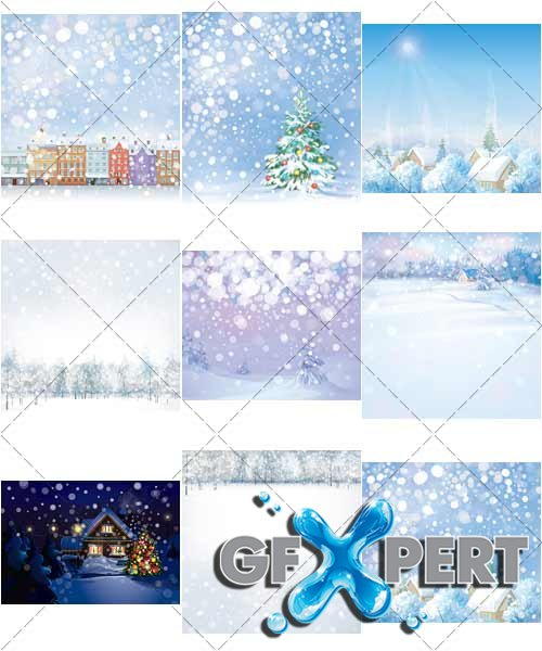 Christmas, winter landscapes, with New Year - VectorStock