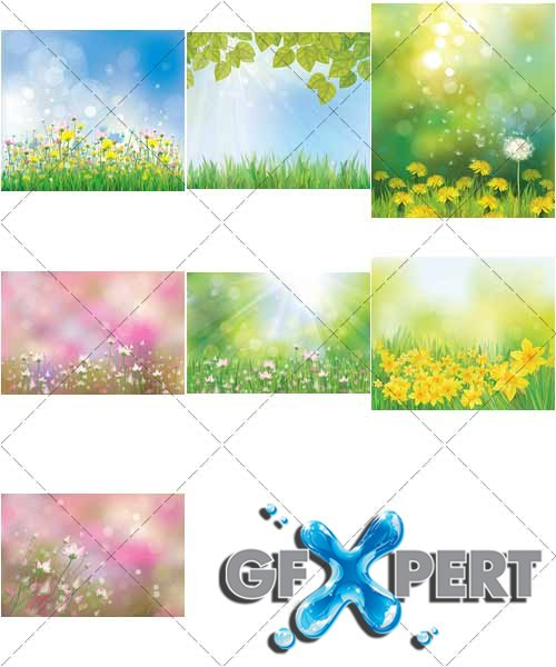 Spring and summer lovely landscapes, 2 - VectorStock