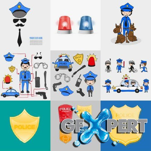 Police elements, dogs, badges vector