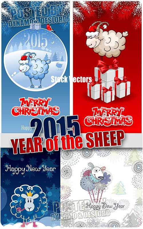 2015 Year of the Sheep 3 - Stock Vectors