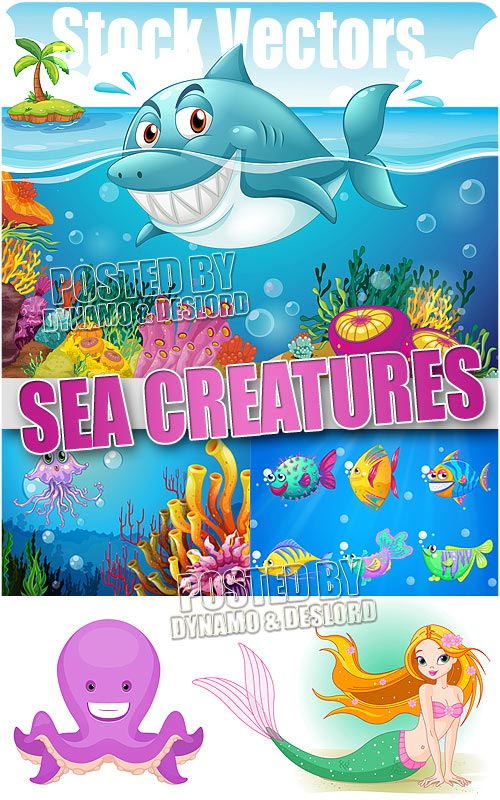 Sea creatures - Stock Vectros