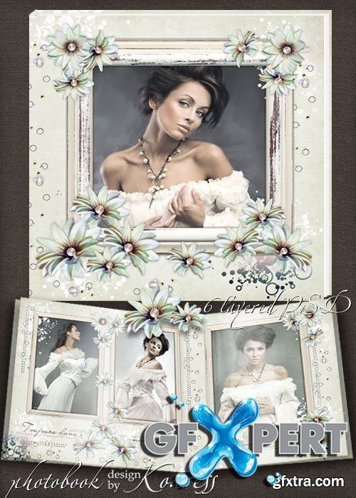 Template of vintage photobook for romantic photos - Tenderness of memories