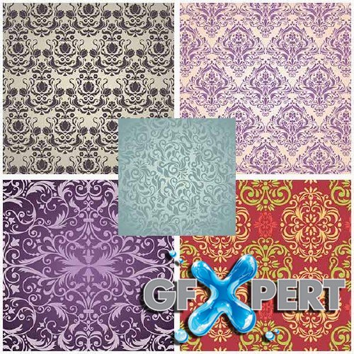 Damask style backgrounds and cards stock vector