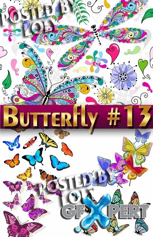 Beautiful butterfly #13 - Stock Vector