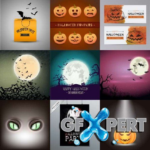 Creepy Halloween background and green feline eyes vector