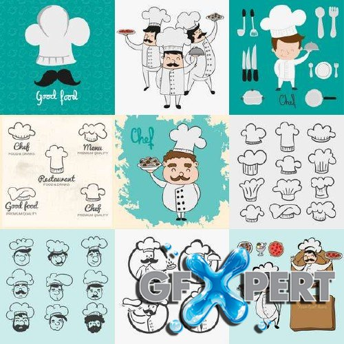 Chef hats vector pack
