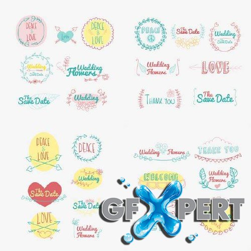 Drawing wedding and love logos stock vector
