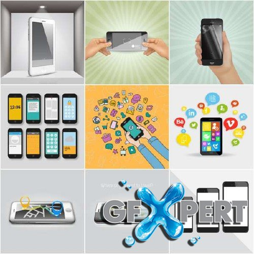 Iphones and smartphones vector pack