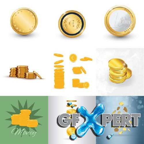 Glowing golden coins vector clipart