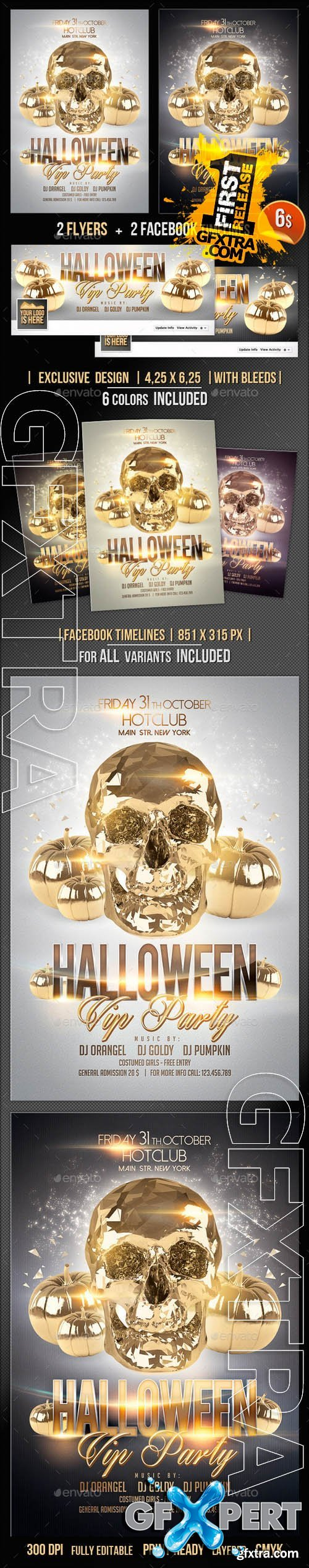 Halloween Flyer + Fb Timeline Vip Party - Graphicriver 9114413