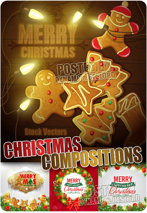 Merry Xmas Conpositions - Stock Vectros