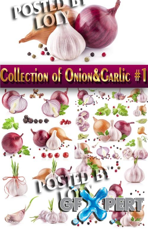 Food. Mega Collection. Onions and garlic #1 - Stock Photo