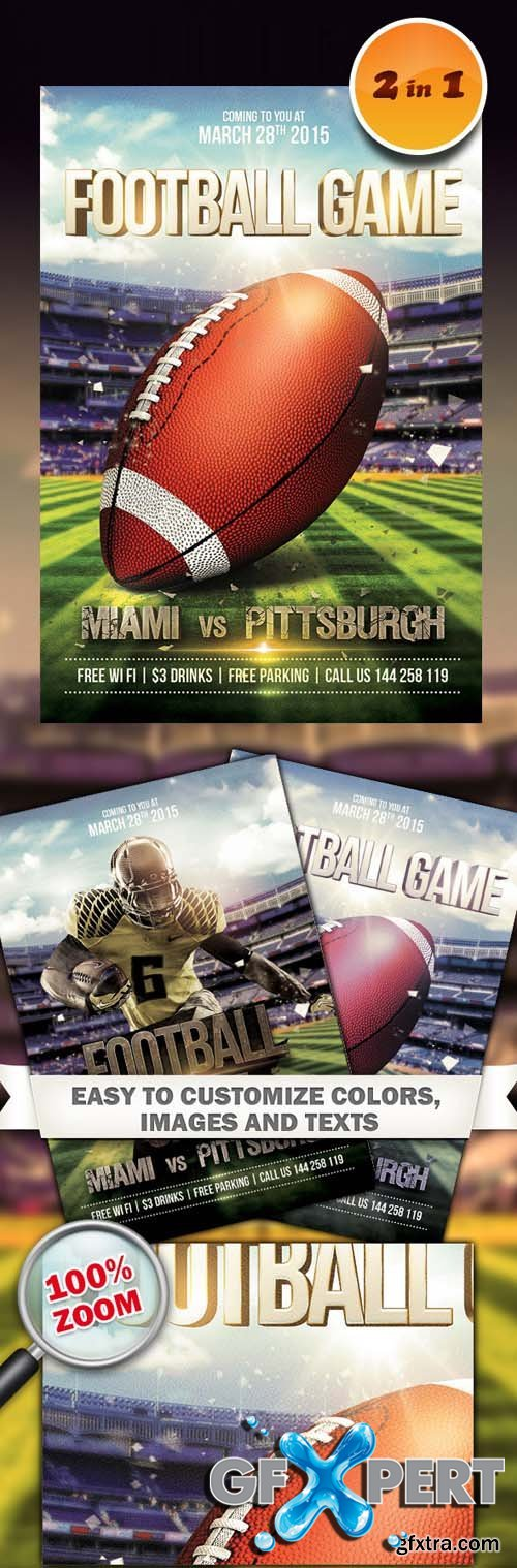 2 Flyers Template - Football Game