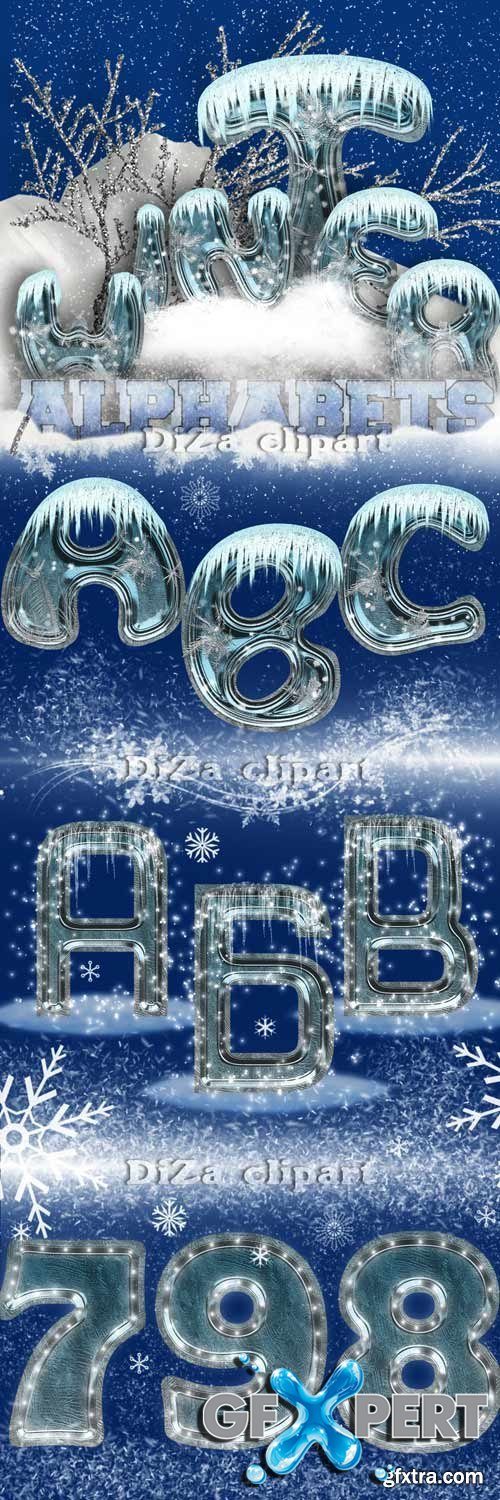 Winter ice alphabet (Rus and Eng)