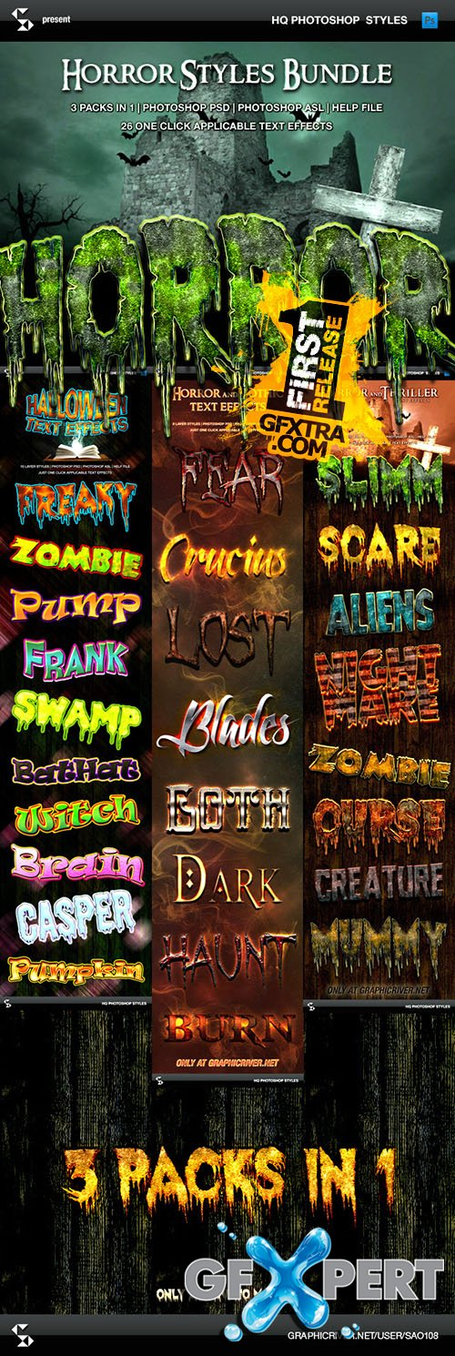 Graphicriver - Horror and Halloween Styles Bundle 9140485
