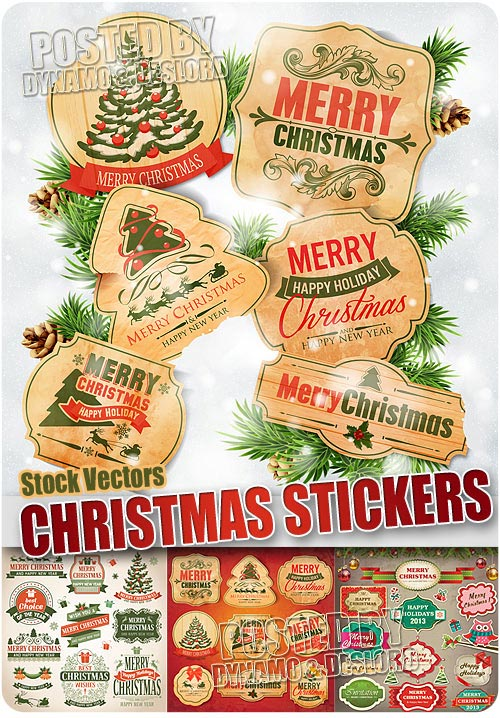 Christmas vintage stickers - Stock Vectros