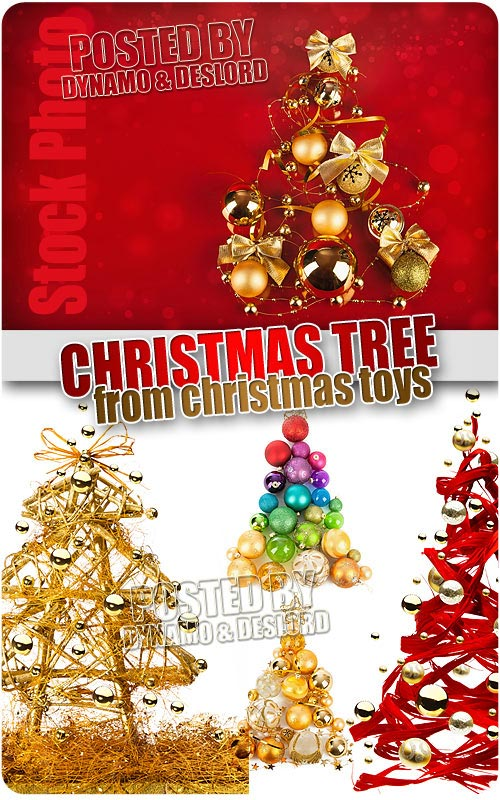 Christmas tree from Christmas toys - UHQ Stock Photo