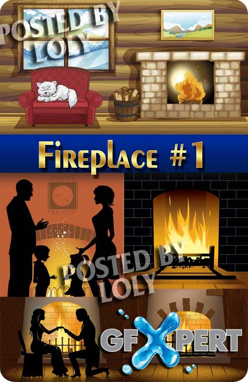Fireside. Fireplaces #1 - Stock Vector